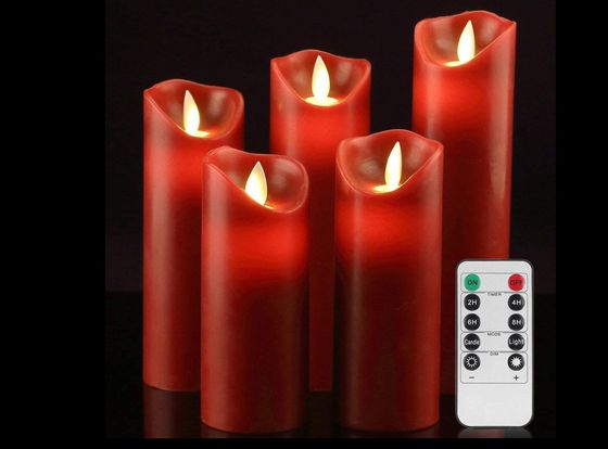 Flickering LED Candles In Bright Red