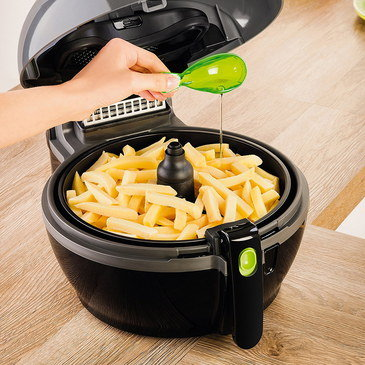 Fat Free Fryer With In Black With Clear Lid