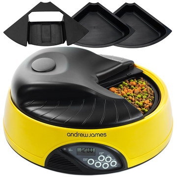 Ice Auto Cat Feeder In Black And Yellow