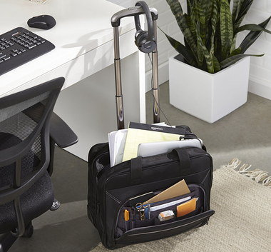 Wheeled Business Bag With Long Steel Handle