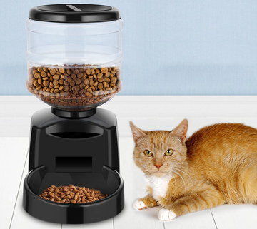 Auto Cat Food Dispenser In Black Finish