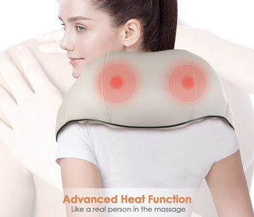 Back Neck Heat Massager Over Girl's Shoulder
