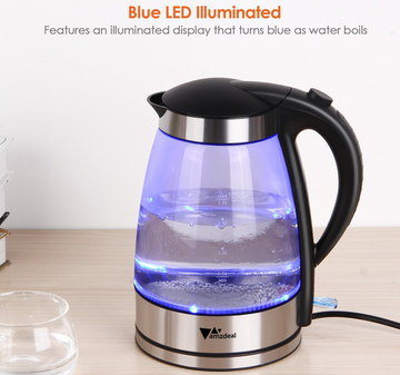 Bright Blue LED Transparent Kettle With Black Handle