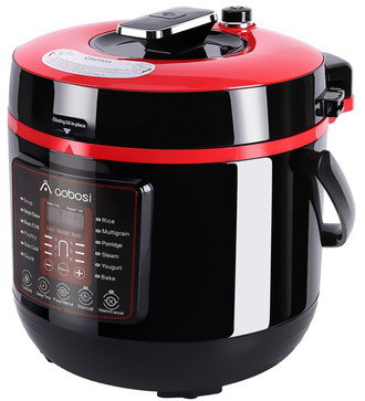 Electric Rice Cooker In Black And Red