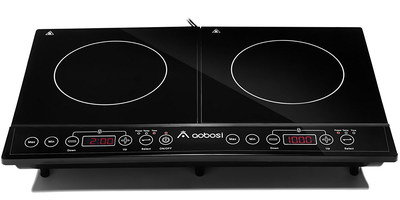 Double Plug In Electric Hob In All Black Exterior