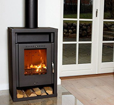 Small Wood Burner In All Black Cast Metal