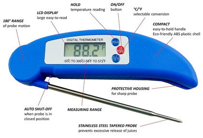 Food Probe Thermometer With Blue Exterior