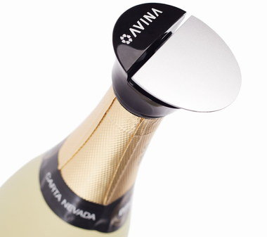 Air Sealed Prosecco Bottle Stopper In Black And Chrome