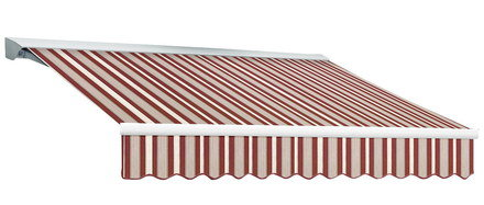 Retractable Canopy In Red And White Stripes