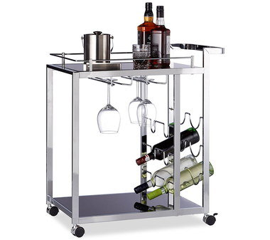 Chic Glass Drinks Trolley With 4 Black Wheels