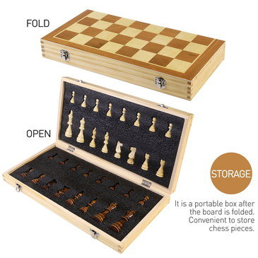 39 cm Wood Chess Set For Sale With Steel Lock