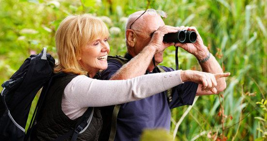 Old Couple Testing Binoculars