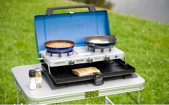 Camping Double Burner In Blue On Lawn