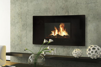 Flat Panel Wall Fireplace In All Black Finish