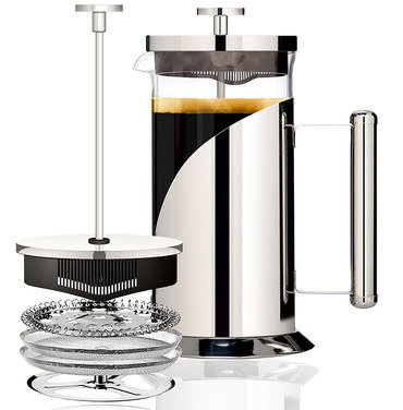 8 Cup Coffee Cafetiere With Steel Handle