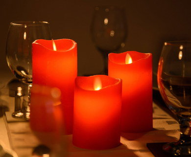 3 Genuine Battery Candles In Bright Red Wax