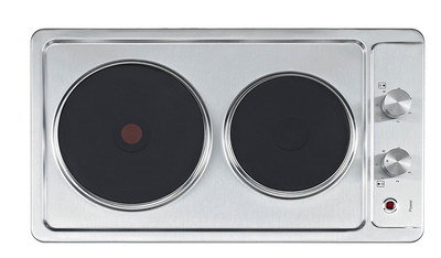 Compact Steel 2 Ring Electric Hob With Red Spot