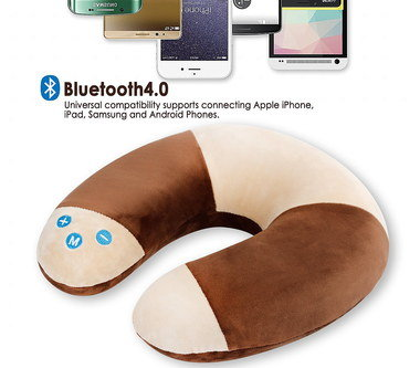 Neck Support Pillow In Brown And Cream Material