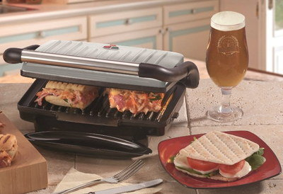 Panini Grill Griddle Maker In Chrome Finish
