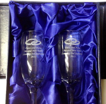 Bride And Groom Glasses On Dark Blue Satin
