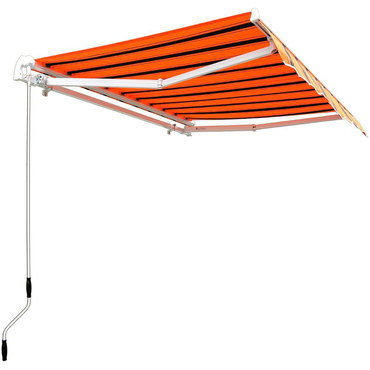 Retractable Patio Awning In Black And Orange Stripes