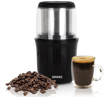 Steel Coffee Bean Grinder With Round Black Base