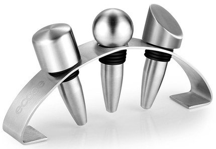 Brushed Exterior Sparkling Wine Stoppers In Steel