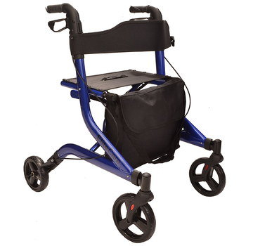 Fold-Up Rollator With Seat And Black Tyres
