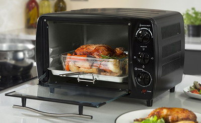 Steel Mini Oven In Black With Heat Control Dial