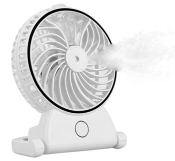 Water Mist Fan Humidifier In All White Plastic