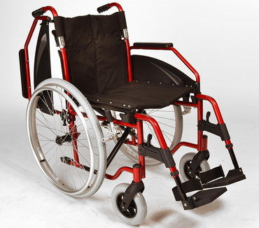 Collapsing Portable Wheelchair With Red Metal Frame
