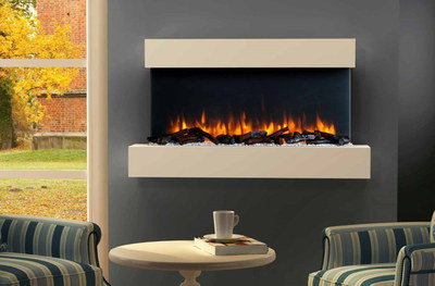 LED Electric Wall Hung Fire Showing Coal Heat