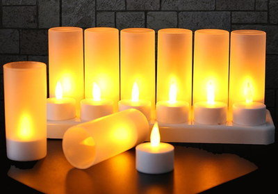 Chic Battery Rechargeable Candles Lined Up In A Row