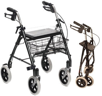 Rollator Walker With Tray And Metal Basket