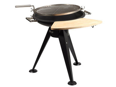 Charcoal BBQ Grill With Side Wooden Ledge