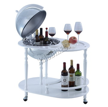 Globe Retro Drinks Trolley In White
