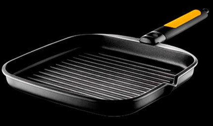 Cast Iron Grill Pan With Black And Orange Handle