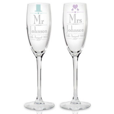 Chic Wedding Mr and Mrs Champagne Flutes With Round Base