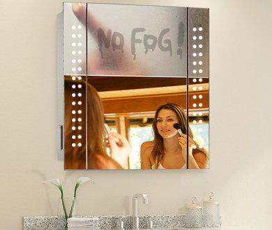 White LED Bath Mirror With Woman Putting Makeup On