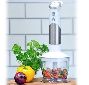Ergonomic Blender Crusher On Wooden Board