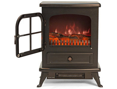 Fake Wood Burning Stove In Black With Door Open
