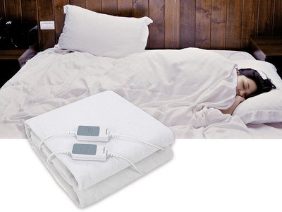 Tie Wrapped Electric Blanket With 2 Controls