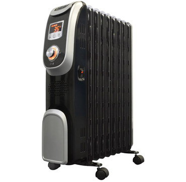 Oil Radiator With Timer In Black Metal Finish