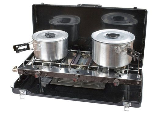 Double Gas Camp Stove With 2 Steel Pans