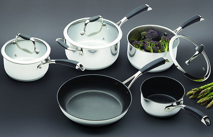 Steel Induction Pan Set With Black Enamel Layers