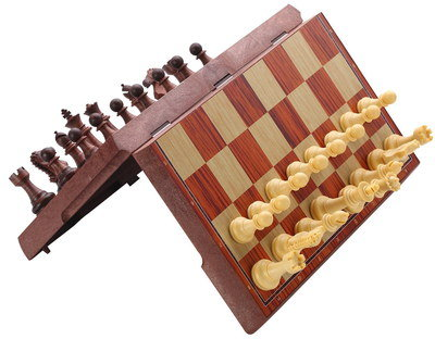 Folding Travel Chess Set In Light Brown Finish