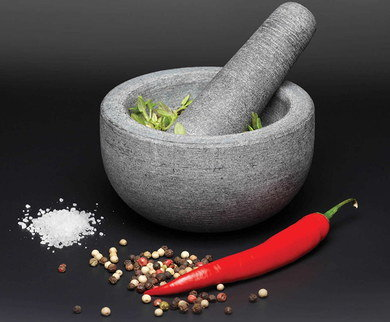 Granite Herb Mortar Pestle In Dark Grey Finish