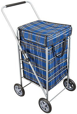 Foldable Shopping Trolley Bag In Blue Check