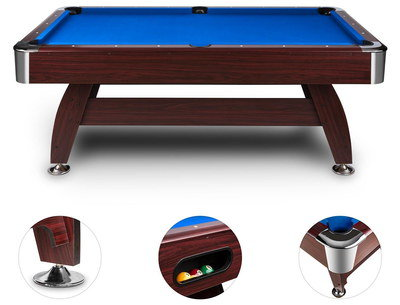Big Pool Table With Balls And Blue Cloth