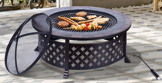 Metal Fire Pit In Black With Poker